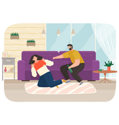 drunk man scolding his wife while drinking booze vector image