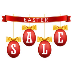 Easter egg sale 3d banner set gold ribbon bow vector