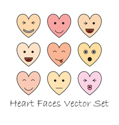Emotional heart faces vector