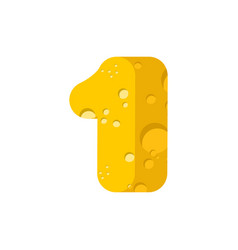 figure 1 cheese font numeral one of cheesy vector image