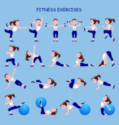 fitness exercises with cartoon girl in blue and vector image