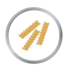 Fusilli icon pasta in cartoon style isolated on vector