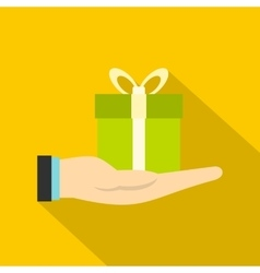 Gift box in hand icon flat style vector