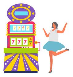 Girl in blue skirt playing slot machine vector