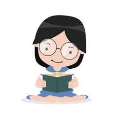 Girl sit on floor and reading book vector