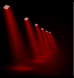 glowing red spotlights vector image