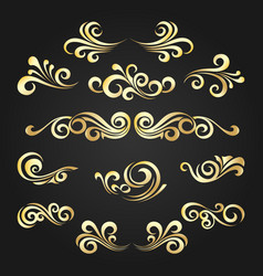 Golden decorative curly shapes set vector