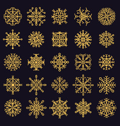 golden snowflakes winter frosted snowflake gold vector image