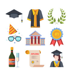 graduation from educational institution set vector image