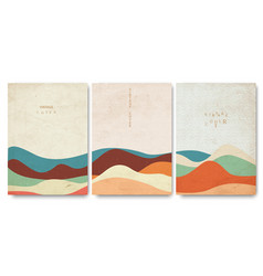 grunge covers templates set with japanese waves vector image