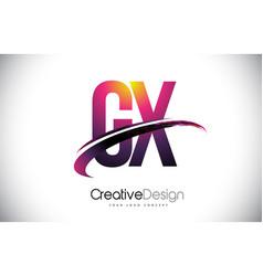 Gx g x purple letter logo with swoosh design vector