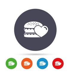 hamburger icon burger food symbol vector image