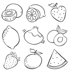 Hand draw fruits of doodles vector