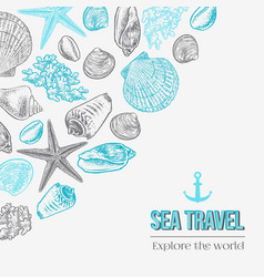 Hand drawn set with seashells starfish and coral vector