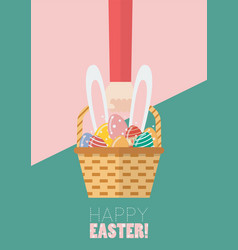 hand holding a basket full of easter eggs vector image
