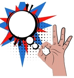 Hand sign pop art white round bubble color back vector