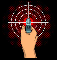 hand with the gun and aim pop art vector image