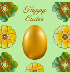 happy easter isolated on a light green background vector image