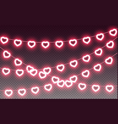 Heart red pink light garland valentine love vector