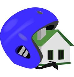 Housing estate with insurance helmet vector