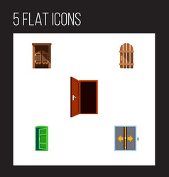 Icon flat approach set of gate western wooden vector