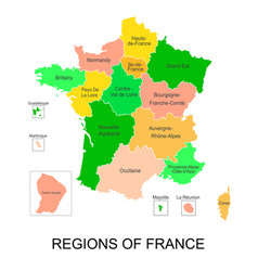 interactive map of metropolitans french regions vector image