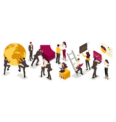 isometric businessmen in costumes with emotions vector image