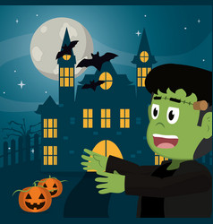 kid in halloween cartoon vector image
