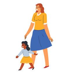 Kindergarten teacher watching after small girl kid vector