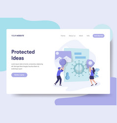 Landing page template protected ideas concept vector