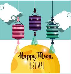 lantern greeting card happy moon festival image vector image