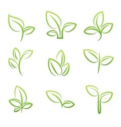 leaf symbol set green leaves design elements vector image