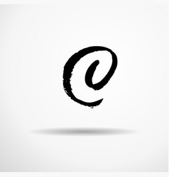 letter c handwritten by dry brush rough strokes vector image