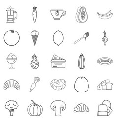 Light meal icons set outline style vector
