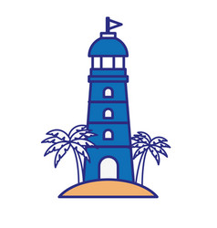 Lighthouse and palms icon vector