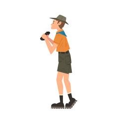 Man forest ranger looking through binoculars vector