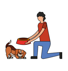 man giving food her dog vector image