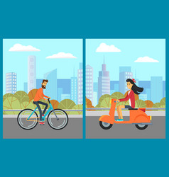 man on bicycle woman on scooter city vector image