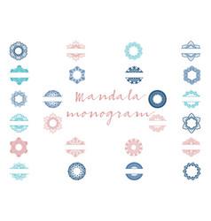Mandala monogram bundle vector