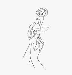 Minimal line art hands floral black aesthetic vector