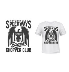 motorcycle racing sport t-shirt print with eagle vector image