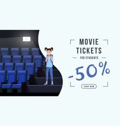 Movie tickets sale web banner template schoolkid vector
