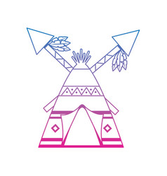 Native american indian teepee home with crossed vector