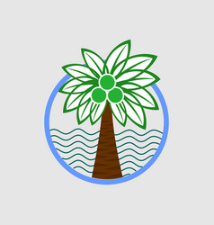 palm tree on a beach logo graphic vector image