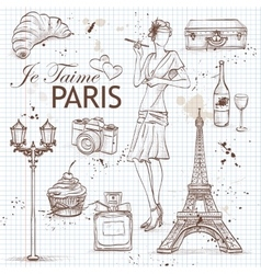 paris set on note book page vector image