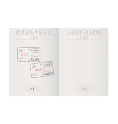 Passport pages with stamp of ottawa and toronto vector
