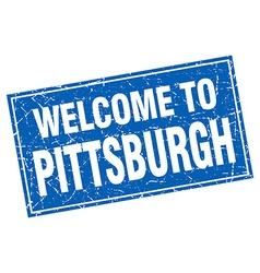 Pittsburgh blue square grunge welcome to stamp vector