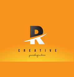 R letter modern logo design with yellow vector