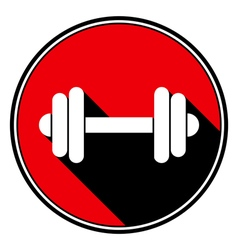 Red round with black shadow - white dumbbell icon vector