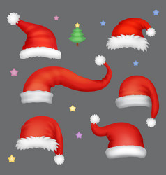 santa hats realistic set vector image
